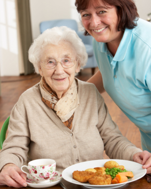old lady and caregiver in dining area